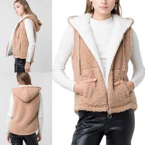 NEW Faux Sherpa Hooded Vest w/ Pockets Camel